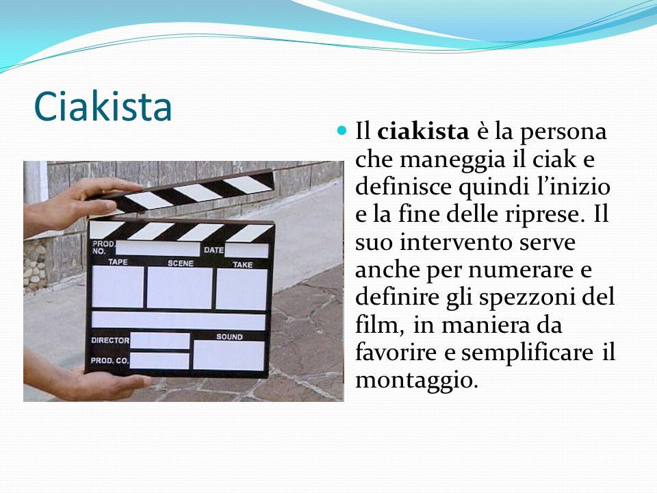 Ciakista Il ciakista è la persona che maneggia il ciak e definisce quindi linizio e la fine delle riprese. Il suo intervento serve anche per numerare