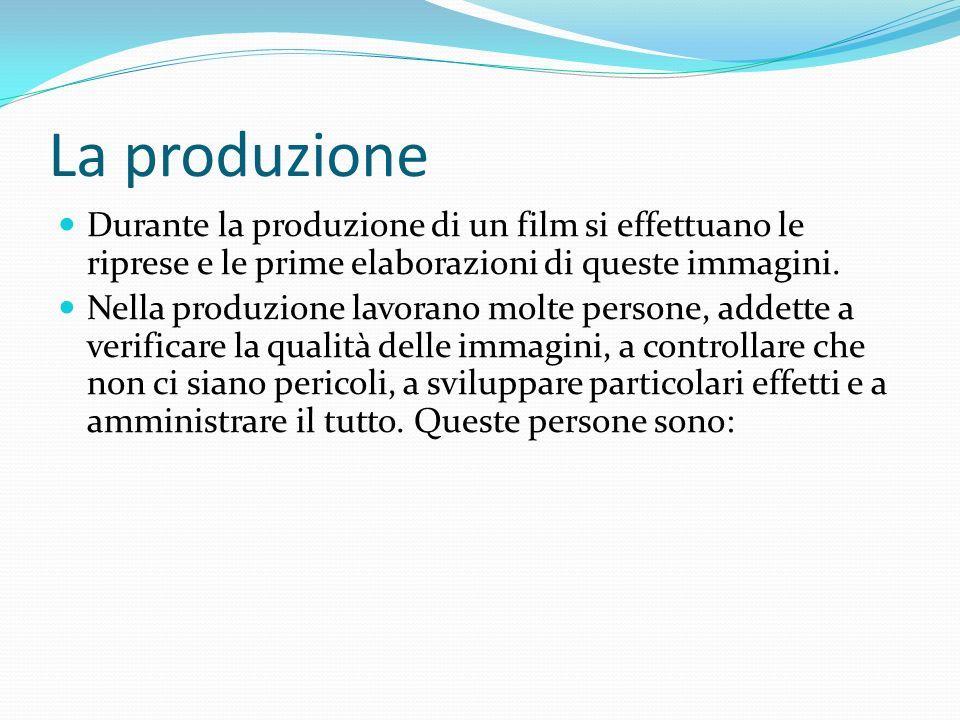La produzione Durante la produzione di un film si effettuano le riprese e le prime elaborazioni di queste immagini. Nella produzione lavorano molte pe