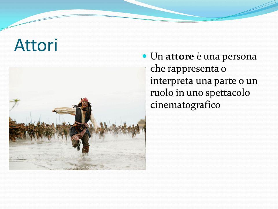 Attori Un attore è una persona che rappresenta o interpreta una parte o un ruolo in uno spettacolo cinematografico