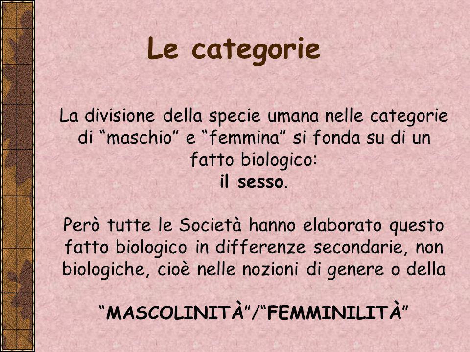 In tutte le Società gli individui tendono a pensare che la versione specifica che essi danno della mascolinità e della femminilità sia dovuta in gran parte alla natura umana.