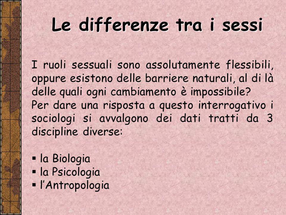 La Biologia ci dà informazioni sulle differenze fisiche tra gli uomini e le donne.