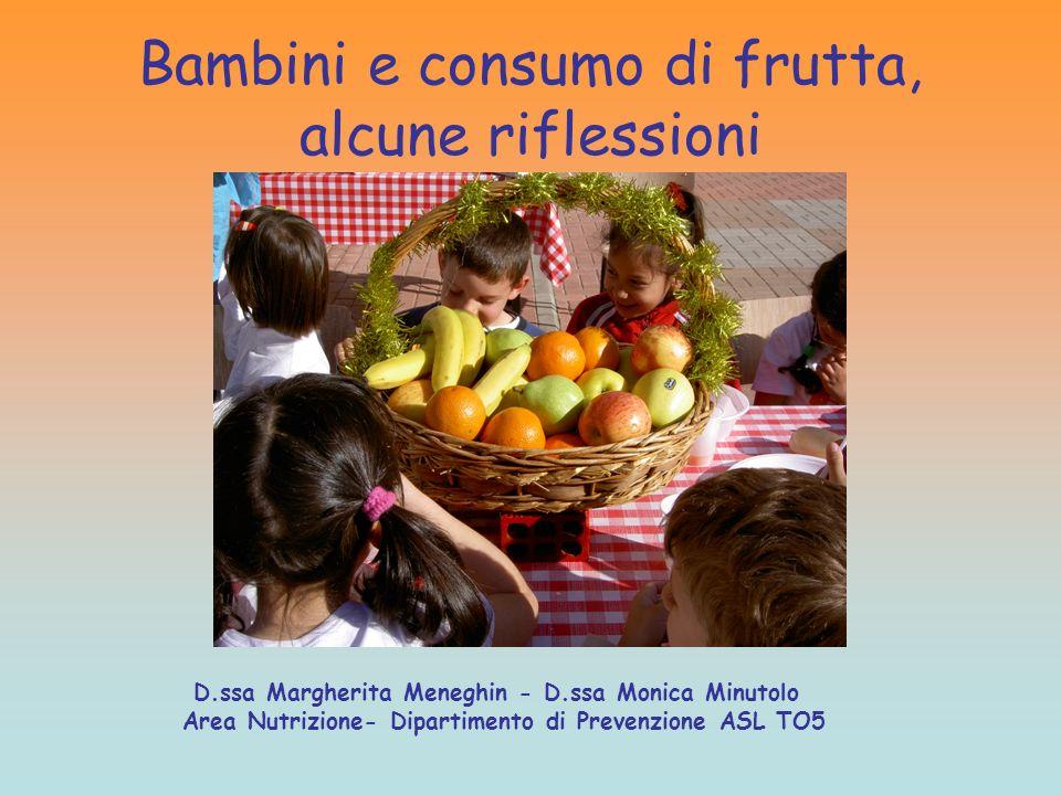 Bambini e consumo di frutta, alcune riflessioni D.ssa Margherita Meneghin - D.ssa Monica Minutolo Area Nutrizione- Dipartimento di Prevenzione ASL TO5