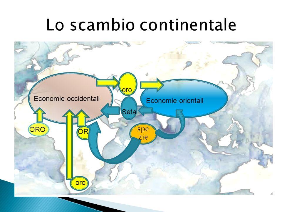 Lo scambio continentale ORO OR oro Economie occidentali Economie orientali spe zie Seta oro