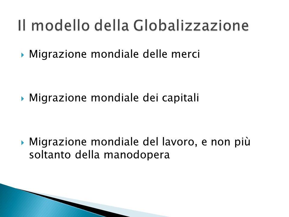 Migrazione mondiale delle merci Migrazione mondiale dei capitali Migrazione mondiale del lavoro, e non più soltanto della manodopera