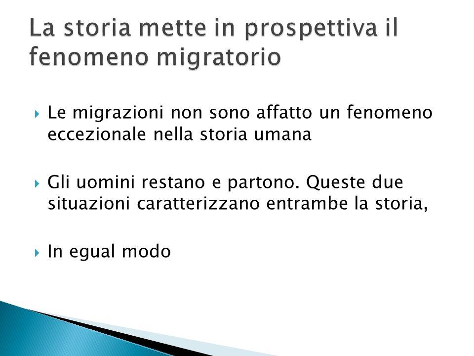 Le migrazioni non sono affatto un fenomeno eccezionale nella storia umana Gli uomini restano e partono. Queste due situazioni caratterizzano entrambe