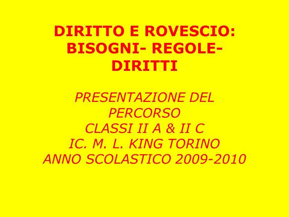 DIRITTO E ROVESCIO: BISOGNI- REGOLE- DIRITTI PRESENTAZIONE DEL PERCORSO CLASSI II A & II C IC. M. L. KING TORINO ANNO SCOLASTICO 2009-2010