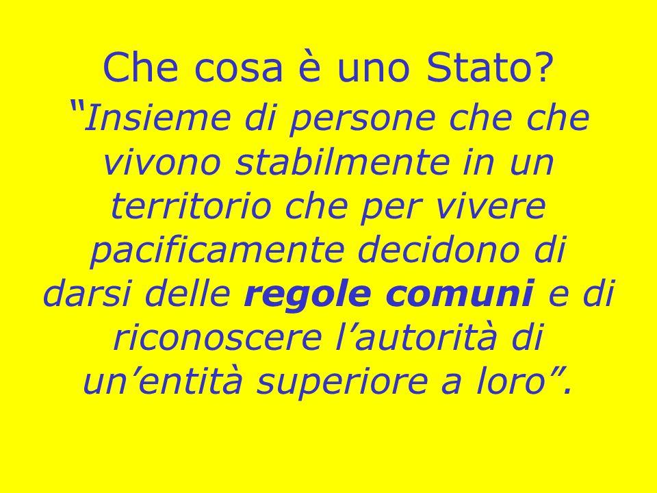 Che cosa è uno Stato? Insieme di persone che che vivono stabilmente in un territorio che per vivere pacificamente decidono di darsi delle regole comun