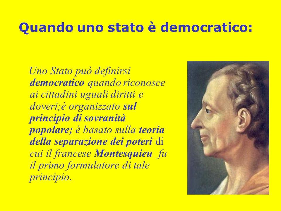 Quando uno stato è democratico: Uno Stato può definirsi democratico quando riconosce ai cittadini uguali diritti e doveri;è organizzato sul principio di sovranità popolare; è basato sulla teoria della separazione dei poteri di cui il francese Montesquieu fu il primo formulatore di tale principio.