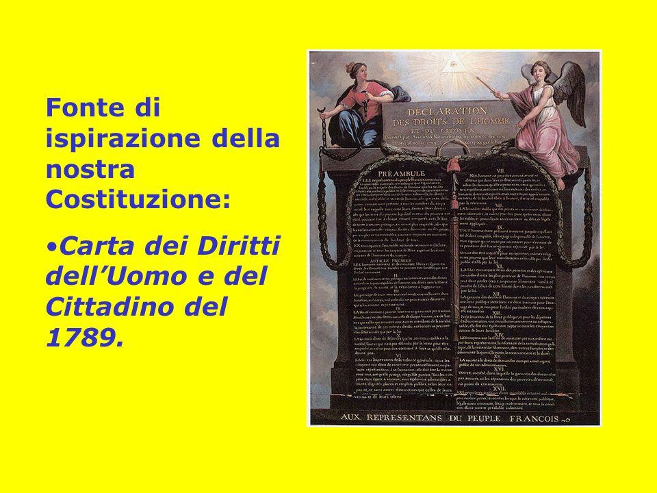 Fonte di ispirazione della nostra Costituzione: Carta dei Diritti dellUomo e del Cittadino del 1789.