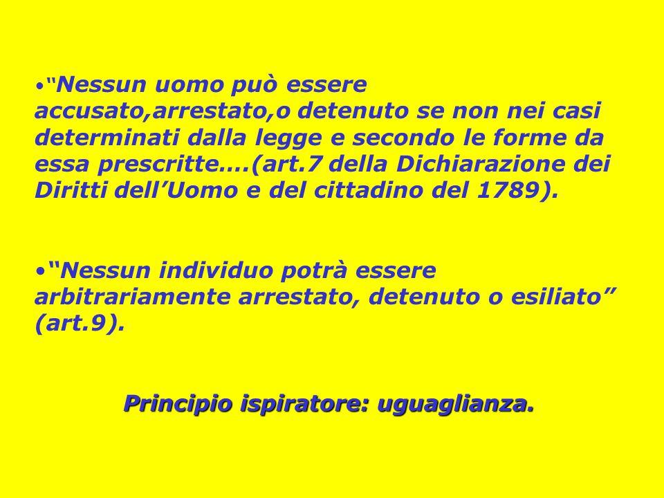 Nessun uomo può essere accusato,arrestato,o detenuto se non nei casi determinati dalla legge e secondo le forme da essa prescritte….(art.7 della Dichiarazione dei Diritti dellUomo e del cittadino del 1789).