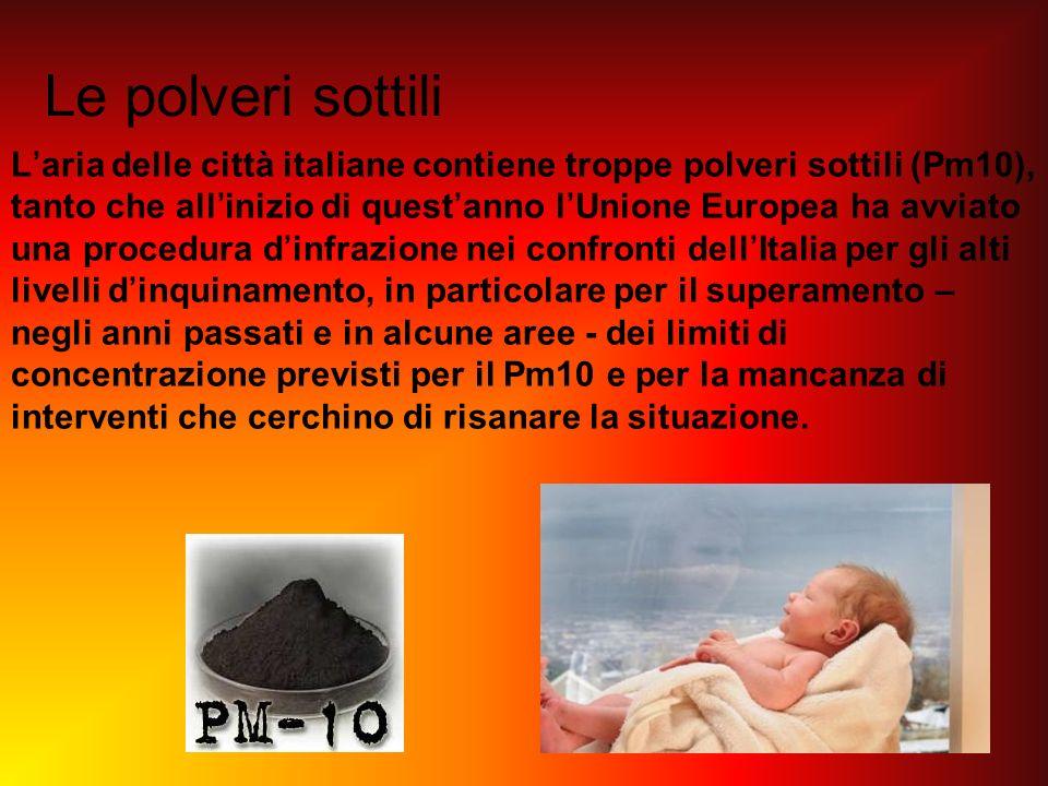 Le polveri sottili Laria delle città italiane contiene troppe polveri sottili (Pm10), tanto che allinizio di questanno lUnione Europea ha avviato una