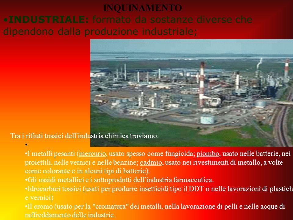 Tra i rifiuti tossici dellindustria chimica troviamo: I metalli pesanti (mercurio, usato spesso come fungicida; piombo, usato nelle batterie, nei proi