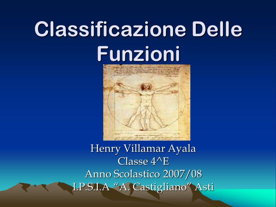 Classificazione Delle Funzioni Henry Villamar Ayala Classe 4^E Anno Scolastico 2007/08 I.P.S.I.A A. Castigliano Asti