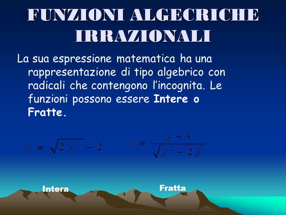 FUNZIONI ALGECRICHE IRRAZIONALI La sua espressione matematica ha una rappresentazione di tipo algebrico con radicali che contengono lincognita. Le fun