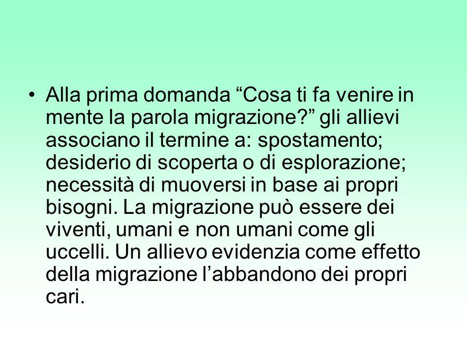 7.Hai sentito parlare recentemente di migranti.