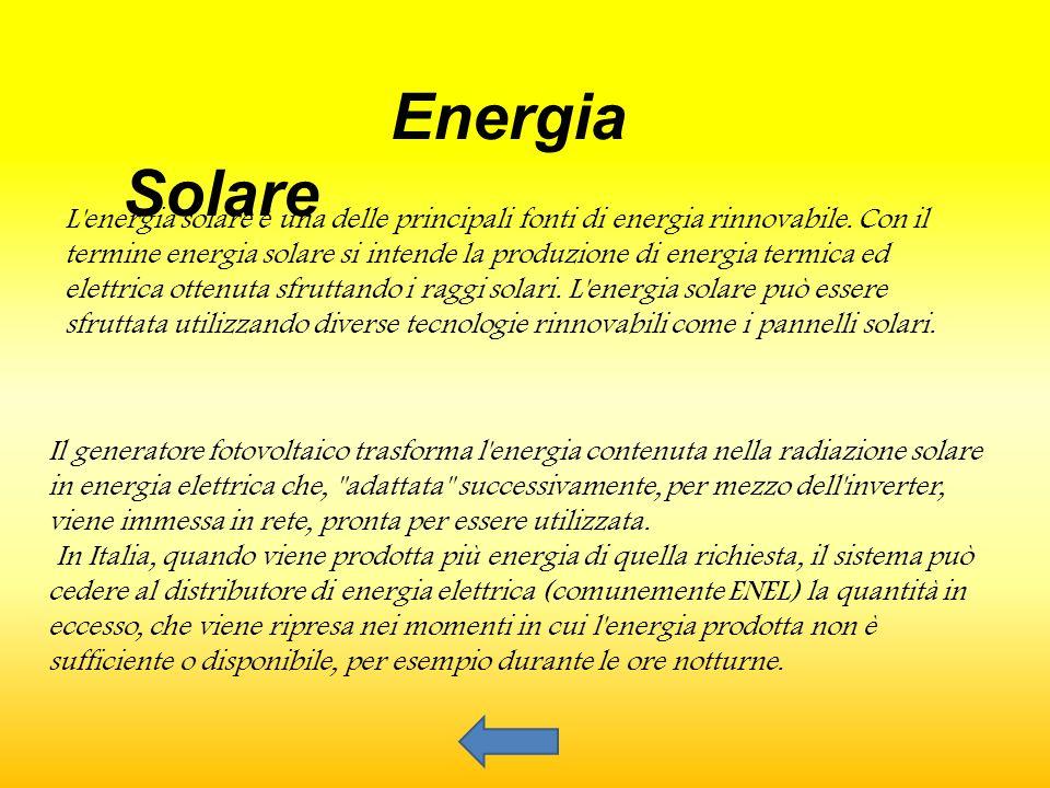 Il generatore fotovoltaico trasforma l energia contenuta nella radiazione solare in energia elettrica che, adattata successivamente, per mezzo dell inverter, viene immessa in rete, pronta per essere utilizzata.