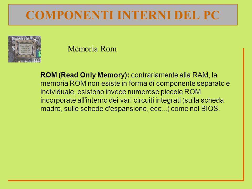COMPONENTI INTERNI DEL PC ROM (Read Only Memory): contrariamente alla RAM, la memoria ROM non esiste in forma di componente separato e individuale, es