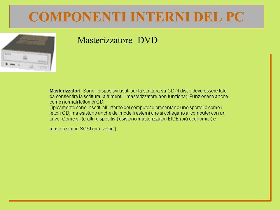 COMPONENTI INTERNI DEL PC Masterizzatori: Sono i dispositivi usati per la scrittura su CD (il disco deve essere tale da consentire la scrittura, altri