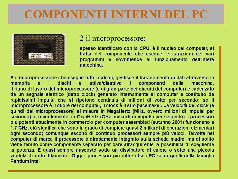COMPONENTI INTERNI DEL PC 2 il microprocessore: spesso identificato con la CPU, è il nucleo del computer, si tratta del componente che esegue le istru