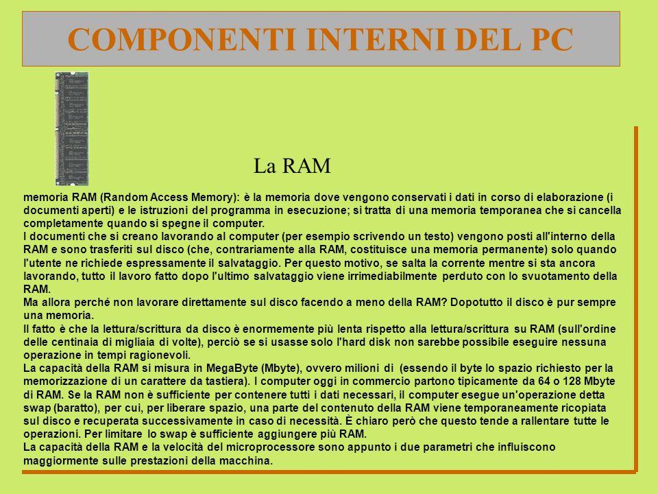COMPONENTI INTERNI DEL PC La RAM memoria RAM (Random Access Memory): è la memoria dove vengono conservati i dati in corso di elaborazione (i documenti