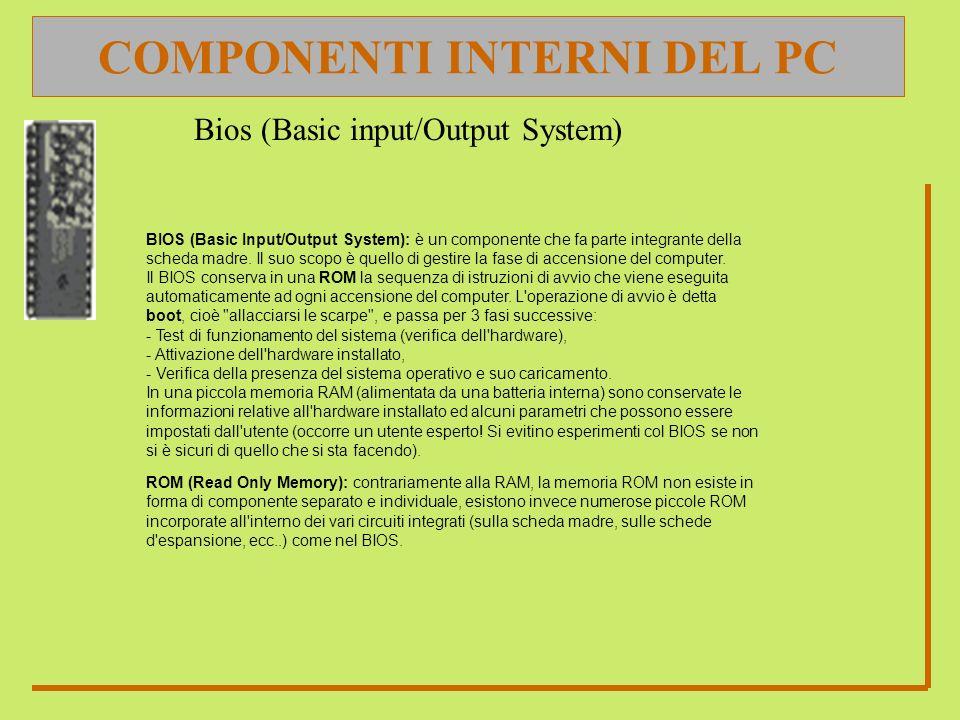 COMPONENTI INTERNI DEL PC ROM (Read Only Memory): contrariamente alla RAM, la memoria ROM non esiste in forma di componente separato e individuale, esistono invece numerose piccole ROM incorporate all interno dei vari circuiti integrati (sulla scheda madre, sulle schede d espansione, ecc...) come nel BIOS.