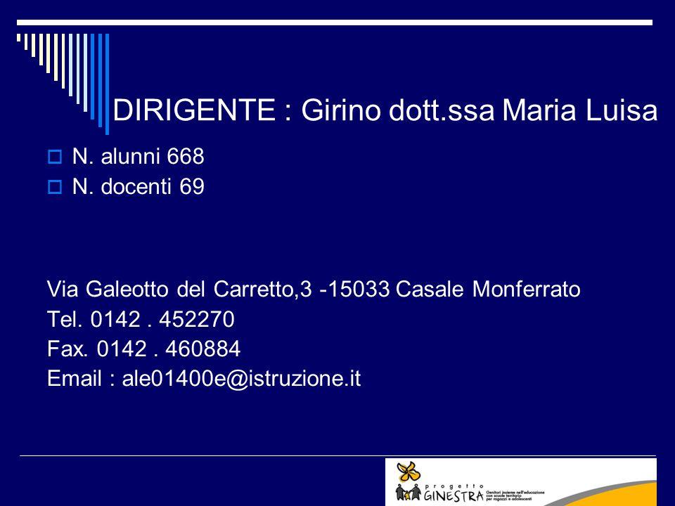DIRIGENTE : Girino dott.ssa Maria Luisa N. alunni 668 N. docenti 69 Via Galeotto del Carretto,3 -15033 Casale Monferrato Tel. 0142. 452270 Fax. 0142.