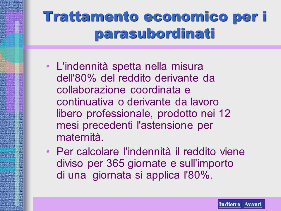 AvantiIndietro Trattamento economico per i parasubordinati L'indennità spetta nella misura dell'80% del reddito derivante da collaborazione coordinata