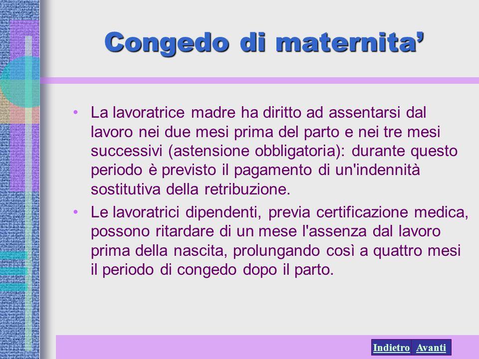 AvantiIndietro Congedo di maternita La lavoratrice madre ha diritto ad assentarsi dal lavoro nei due mesi prima del parto e nei tre mesi successivi (a