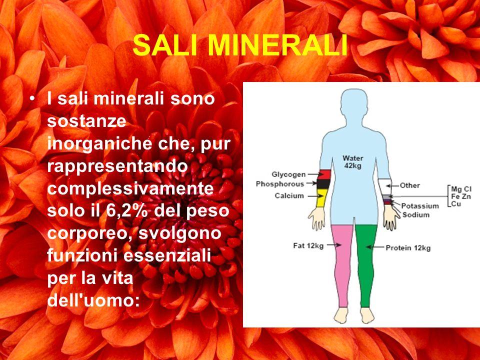 SALI MINERALI I sali minerali sono sostanze inorganiche che, pur rappresentando complessivamente solo il 6,2% del peso corporeo, svolgono funzioni ess