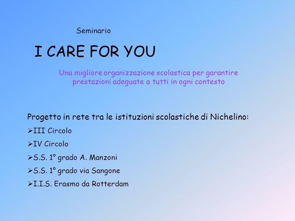 I CARE FOR YOU Una migliore organizzazione scolastica per garantire prestazioni adeguate a tutti in ogni contesto Seminario Progetto in rete tra le istituzioni scolastiche di Nichelino: III Circolo IV Circolo S.S.