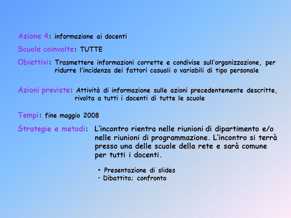 Azione 4: informazione ai docenti Scuole coinvolte: TUTTE Obiettivi: Trasmettere informazioni corrette e condivise sullorganizzazione, per ridurre lin