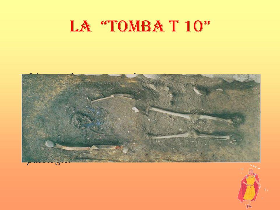 LA TOMBA T 10 Lampia fossa rettangolare,orientata a est-ovest, con cranio a ovest, e delimitata su un lato da due tegole romane frammentarie. Linumato