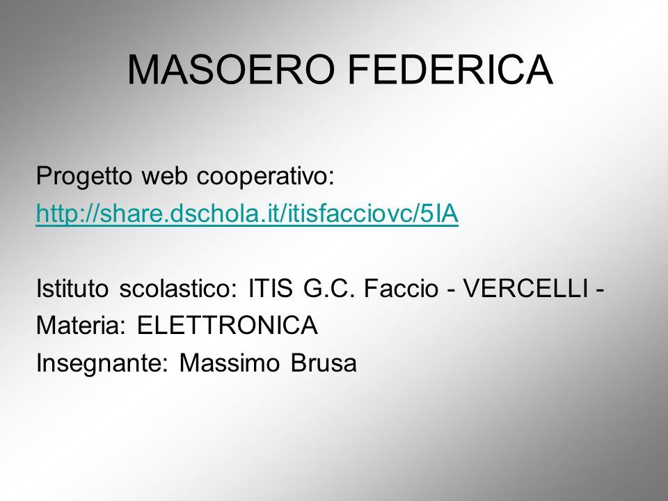 MASOERO FEDERICA Progetto web cooperativo: http://share.dschola.it/itisfacciovc/5IA Istituto scolastico: ITIS G.C. Faccio - VERCELLI - Materia: ELETTR