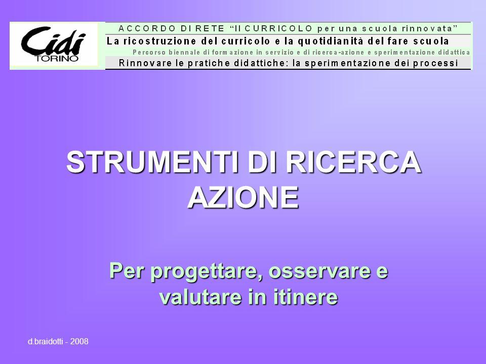 STRUMENTI DI RICERCA AZIONE Per progettare, osservare e valutare in itinere d.braidotti - 2008