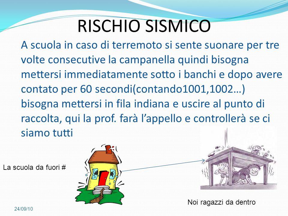 24/09/10 RISCHIO SISMICO A scuola in caso di terremoto si sente suonare per tre volte consecutive la campanella quindi bisogna mettersi immediatamente