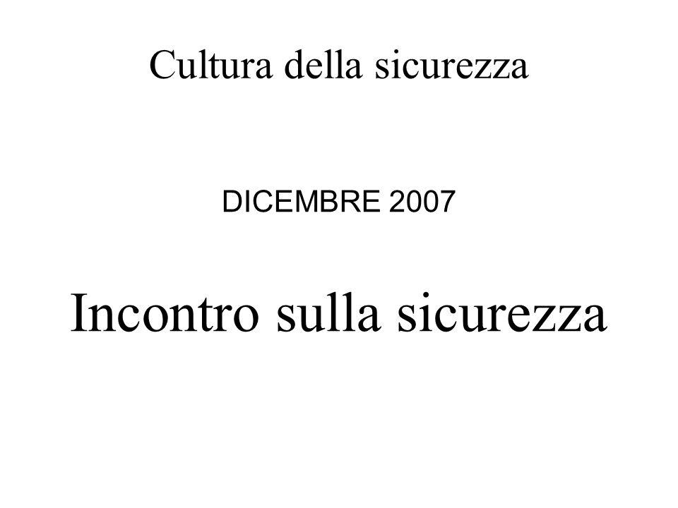 Cultura della sicurezza DICEMBRE 2007 Incontro sulla sicurezza