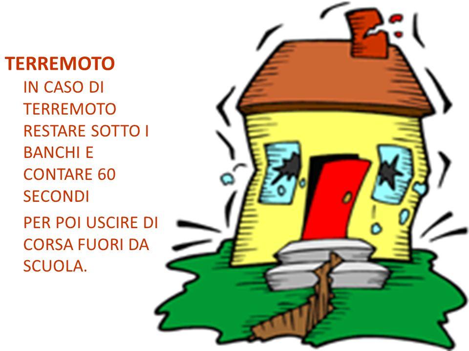 TERREMOTO IN CASO DI TERREMOTO RESTARE SOTTO I BANCHI E CONTARE 60 SECONDI PER POI USCIRE DI CORSA FUORI DA SCUOLA.