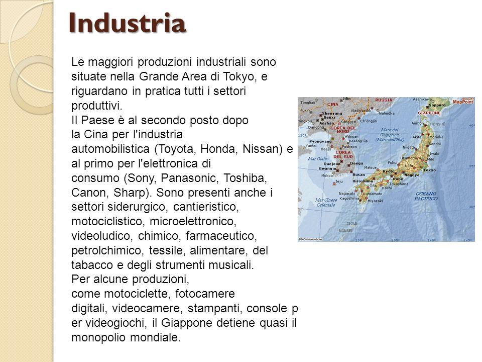 Le maggiori produzioni industriali sono situate nella Grande Area di Tokyo, e riguardano in pratica tutti i settori produttivi. Il Paese è al secondo
