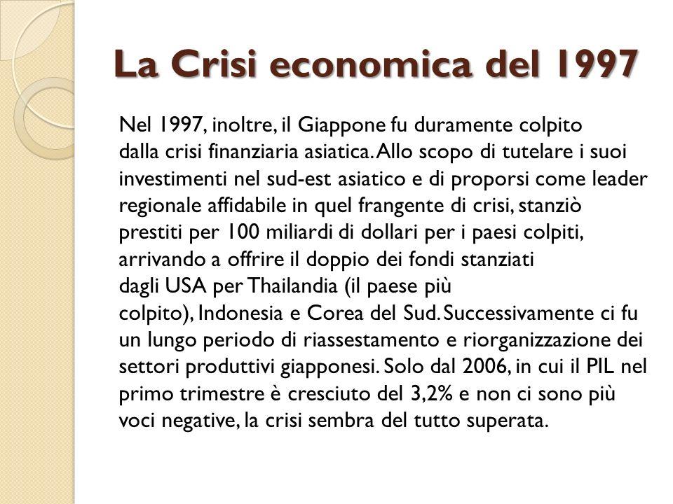 La Crisi economica del 1997 Nel 1997, inoltre, il Giappone fu duramente colpito dalla crisi finanziaria asiatica. Allo scopo di tutelare i suoi invest