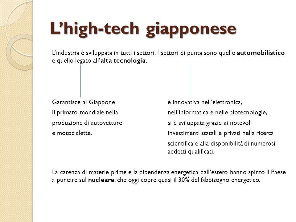 Lhigh-tech giapponese Lindustria è sviluppata in tutti i settori. I settori di punta sono quello automobilistico e quello legato allalta tecnologia. G