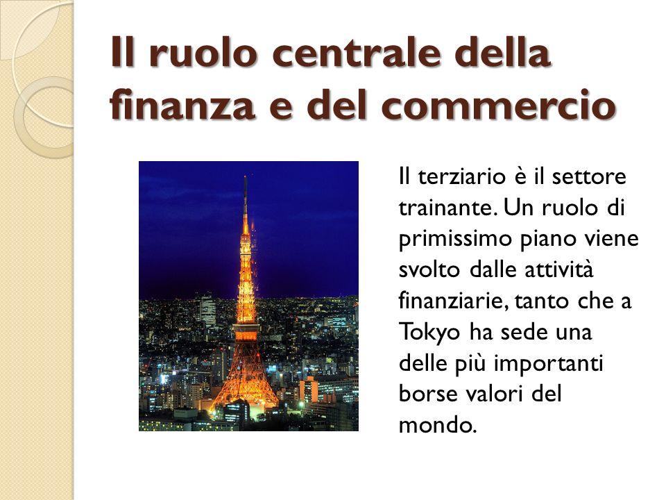Il ruolo centrale della finanza e del commercio Il terziario è il settore trainante. Un ruolo di primissimo piano viene svolto dalle attività finanzia