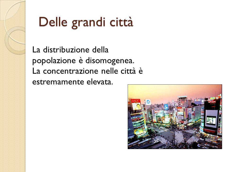 Delle grandi città La distribuzione della popolazione è disomogenea. La concentrazione nelle città è estremamente elevata.