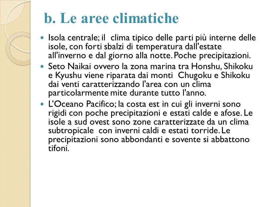 b. Le aree climatiche Isola centrale; il clima tipico delle parti più interne delle isole, con forti sbalzi di temperatura dall'estate all'inverno e d