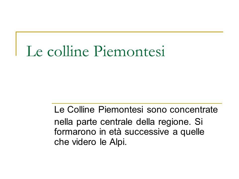 Le colline Piemontesi Le Colline Piemontesi sono concentrate nella parte centrale della regione. Si formarono in età successive a quelle che videro le