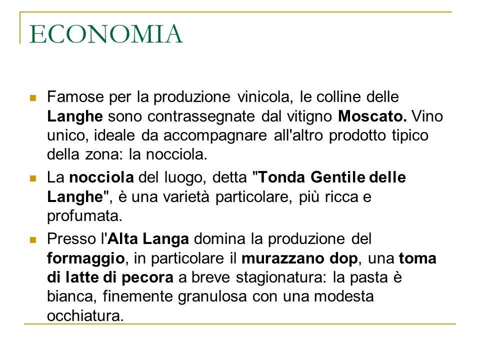 ECONOMIA Famose per la produzione vinicola, le colline delle Langhe sono contrassegnate dal vitigno Moscato. Vino unico, ideale da accompagnare all'al
