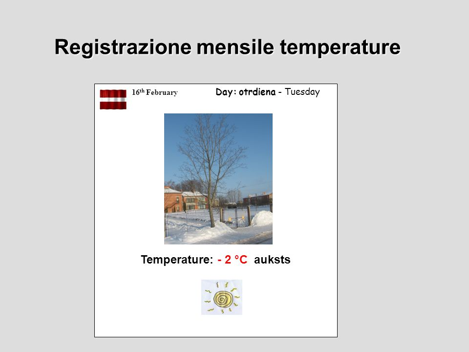 16 th February Day: otrdiena - Tuesday Temperature: - 2 °C auksts Registrazione mensile temperature
