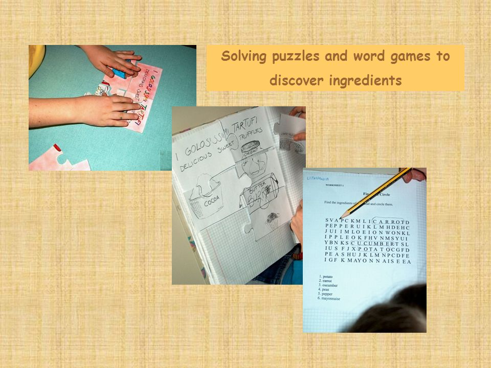 Solving puzzles and word games to discover ingredients