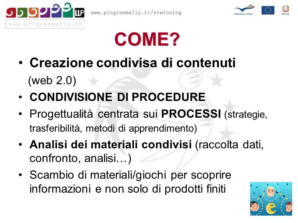COME? Creazione condivisa di contenuti (web 2.0) CONDIVISIONE DI PROCEDURE Progettualità centrata sui PROCESSI (strategie, trasferibilità, metodi di a