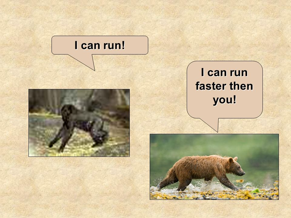 I can run faster then you! I can run!