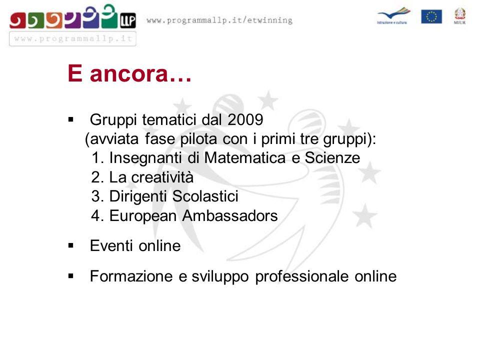 E ancora… Gruppi tematici dal 2009 (avviata fase pilota con i primi tre gruppi): 1.Insegnanti di Matematica e Scienze 2.La creatività 3.Dirigenti Scolastici 4.European Ambassadors Eventi online Formazione e sviluppo professionale online